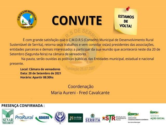 Conselho Municipal de Desenvolvimento Rural Sustentável de Serrita realiza sua primeira reunião de 2021 nessa segunda-feira 20 de setembro